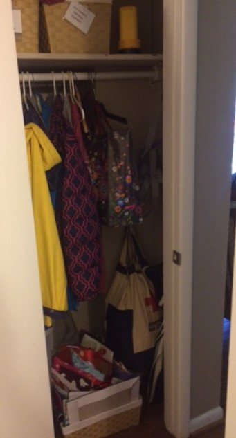 coat closet - before organizing